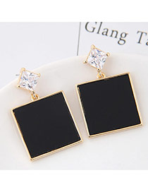 Elegant Black Square Gemstone Pendant Decorated Simple Earring