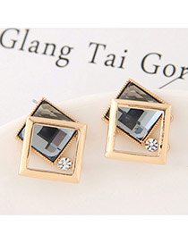 Sweet Gray Hollow Out Double Square Decorated Simple Earring