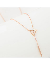Fashion Gold Color Triangle Pendant Decorated Simple Long Chain Necklace
