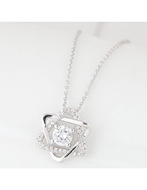 Elegant Silver Color Round Shape Decorated Pure Color Long Chain Necklace