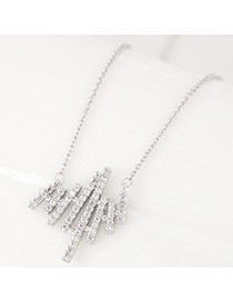 Elegant Silver Color Strip Shape Pendant Decorated Simple Long Chain Necklace