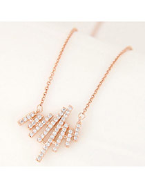 Elegant Gold Color Strip Shape Pendant Decorated Simple Long Chain Necklace