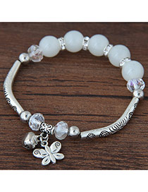 Bohemia Milk White Butterfly Pendant Decoarated Simple Bracelet
