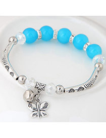 Bohemia Blue Butterfly Pendant Decoarated Simple Bracelet