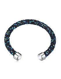 Personality Blue Metal Round Decorated Pure Color Simple Bracelet