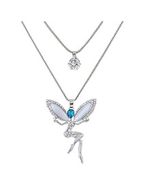 Sweet Silver Color Angel Shape Pendant Decorated Double Layer Necklace