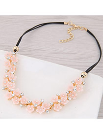 Sweet Light Pink Flower Weaving Decorated Simple Short Chain Necklace