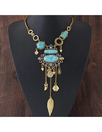 Exaggerated Gold Color Leaf&gemstone Decorated Tassel Short Chain Necklace