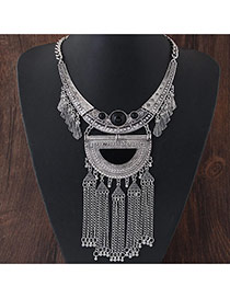 Exaggerated Silver Color D Shape Decorated Tassel Pendant Short Chain Necklace