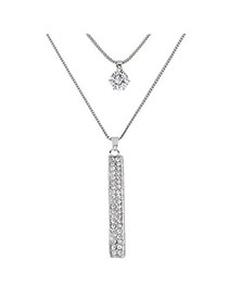 Sweet Silver Color Vertical Bar Pendant Decorated Double Layer Necklace