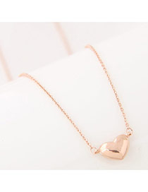 Sweet Gold Color Heart Shape Pendant Decorated Simple Necklace