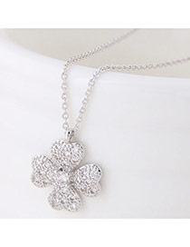 Sweet Silver Color Clover Shape Decorated Simple Necklace