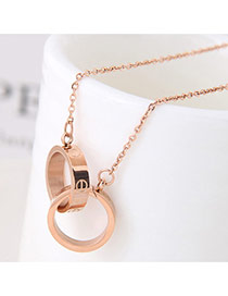 Exquisite Rose Gold Double Rings Pendant Decorated Simple Necklace