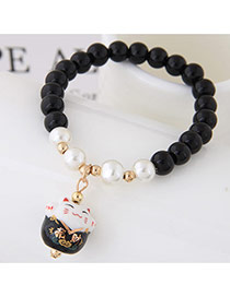 Sweet Black Cat Shape Pendant Decorated Beads Bracelet