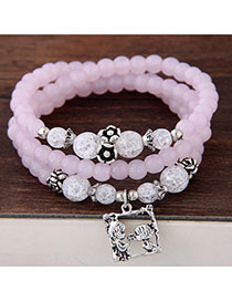 Fashion Pink Lovers Pendant Decorated Multilayer Beads Bracelet