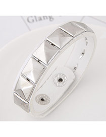 Retro White Squre Rivet Shape Decorated Pure Color Bracelet