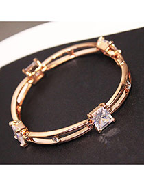 Sweet Gold Color Square Shape Diamond Decorated Double Layer Bracelet