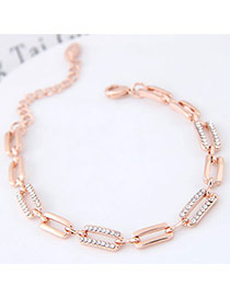Sweet Gold Color Round Shape Diamond Decorated Hollow Out Design Bracelet