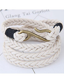Fashion White Irregular Shape Decorated Multi-layer Color Matching Bracelet