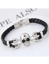 Fashion Silver Color Skull Decorated Double Layer Design Simple Bracelet