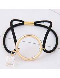 Elegant Black Round Shape Pendant Decorated Color Matching Hair Band