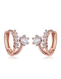 Fashion Rose Gold Diamond Decorated Flower Shape Simple Earrings