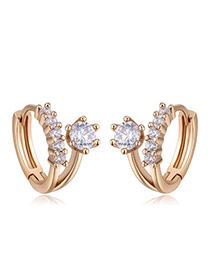 Fashion Champagne Gold Diamond Decorated Flower Shape Simple Earrings