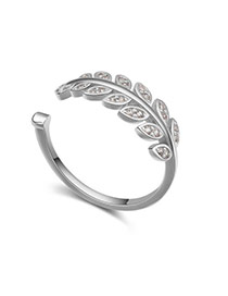 Fashion Silver Color Diamond Decorated Leaf Shape Design Opening Ring