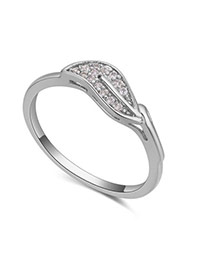Fashion Silver Color Diamond Decorated Leaf Shape Design Simple Ring