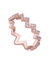 Fashion Rose Gold Diamond Decorated Irregular Shape Design Simple Ring