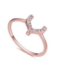 Fashion Rose Gold Diamond Decorated U Shape Design Simple Ring