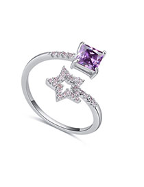 Fashion Purple Star&square Shape Diamond Decorated Opening Ring