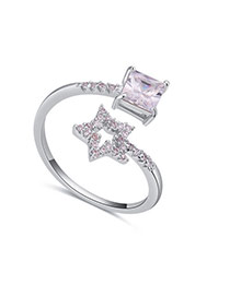 Fashion Silver Color Star&square Shape Diamond Decorated Opening Ring