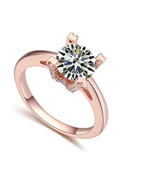 Fashion Rose Gold Big Round Shape Diamond Decorated Simple Ring