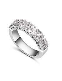 Fashion Silver Color Diamond Decorated Square Shape Design Simple Ring