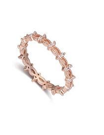 Fashion White+rose Gold Diamond Decorated Hollow Out Design Simple Ring