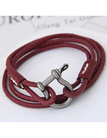 Fashion Red Buckle Decorated Multi-layer Design Simple Leather Bracelet