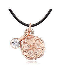 Fashion Rose Gold Flower&diamond Pendant Decorated Simple Necklace