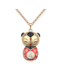 Fashion Champagne+red Fuwa Pendant Decorated Color Matching Desgin Necklace