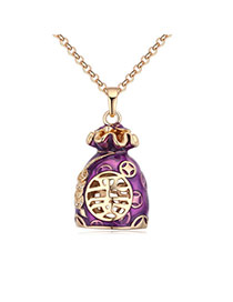 Fashion Champagne+blue Hollow Out Purse Pendant Decorated Color Matching Necklace