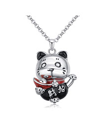 Fashion Black Bear Pendant Decorated Color Matching Simple Necklace