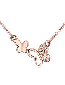 Fashion Rose Gold Diamond Decorated Butterfly Shape Simple Necklace