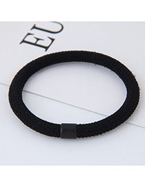 Fashion Black Round Shape Decorated Pure Color Simple Hair Band