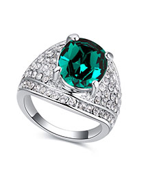 Fashion Green Round Shape Diamond Decorated Irregular Shape Design Ring