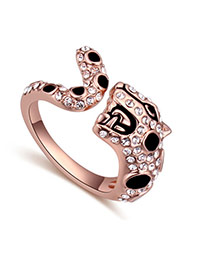 Fashion Rose Gold+black Round Diamond Decorated Snake Shape Simple Ring