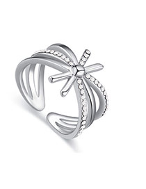 Fashion White Diamond Decorated Hollow Out Design Simple Ring