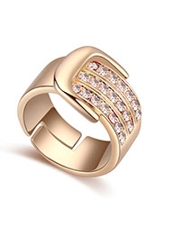 Fashion Pink Diamond Decorated Buckle Shape Design Ring