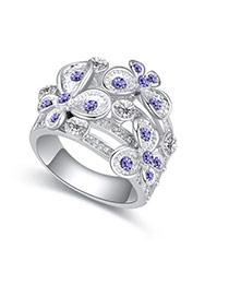 Fashion Purple Flower Decorated Hollow Out Design Simple Ring