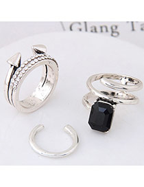 Elegant Black Square Shape Diamond Decorated Irregular Shape Ring(3pcs)