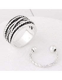 Elegant Silver Color Round Balls Decorated Pure Color Design Ring (2pcs)